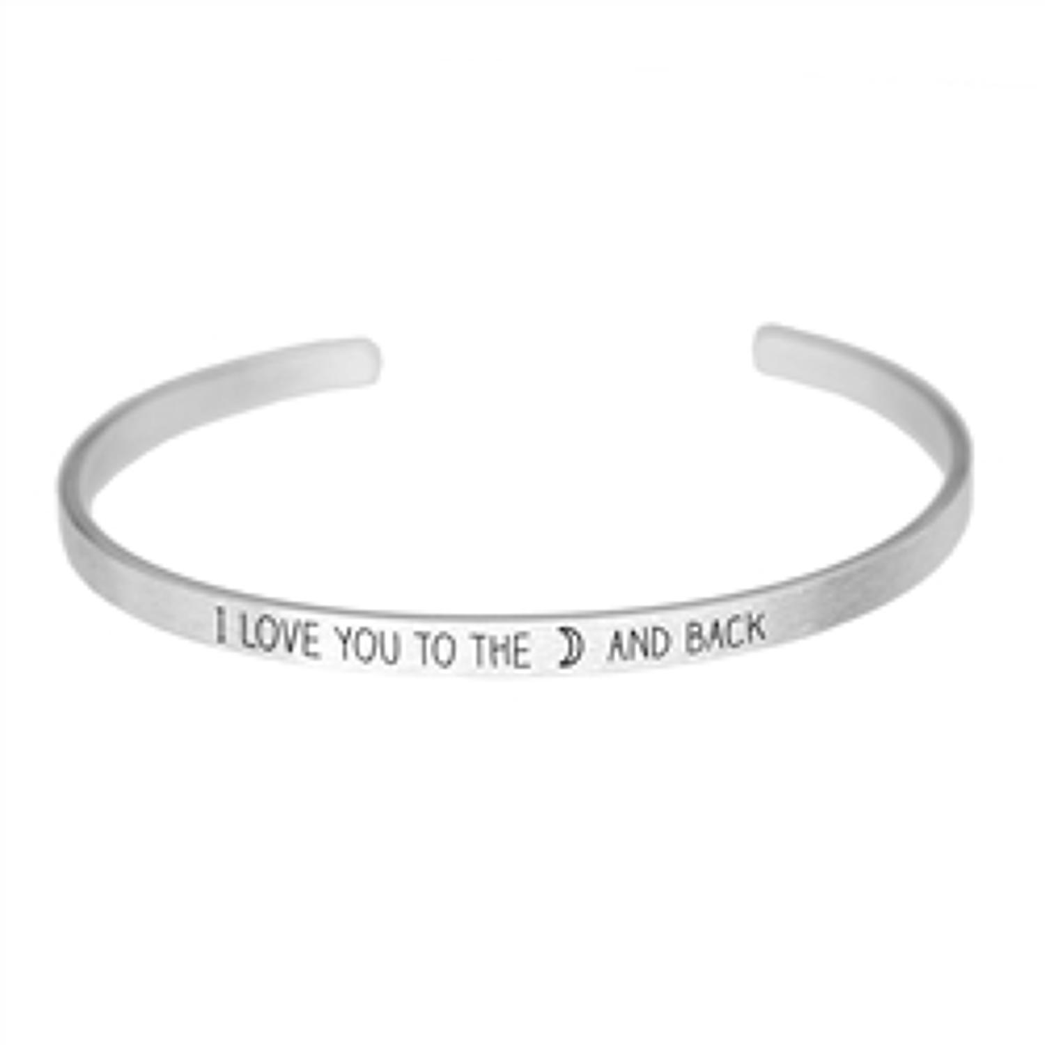 White Leaf - Love you to the moon and back silver finish bangle