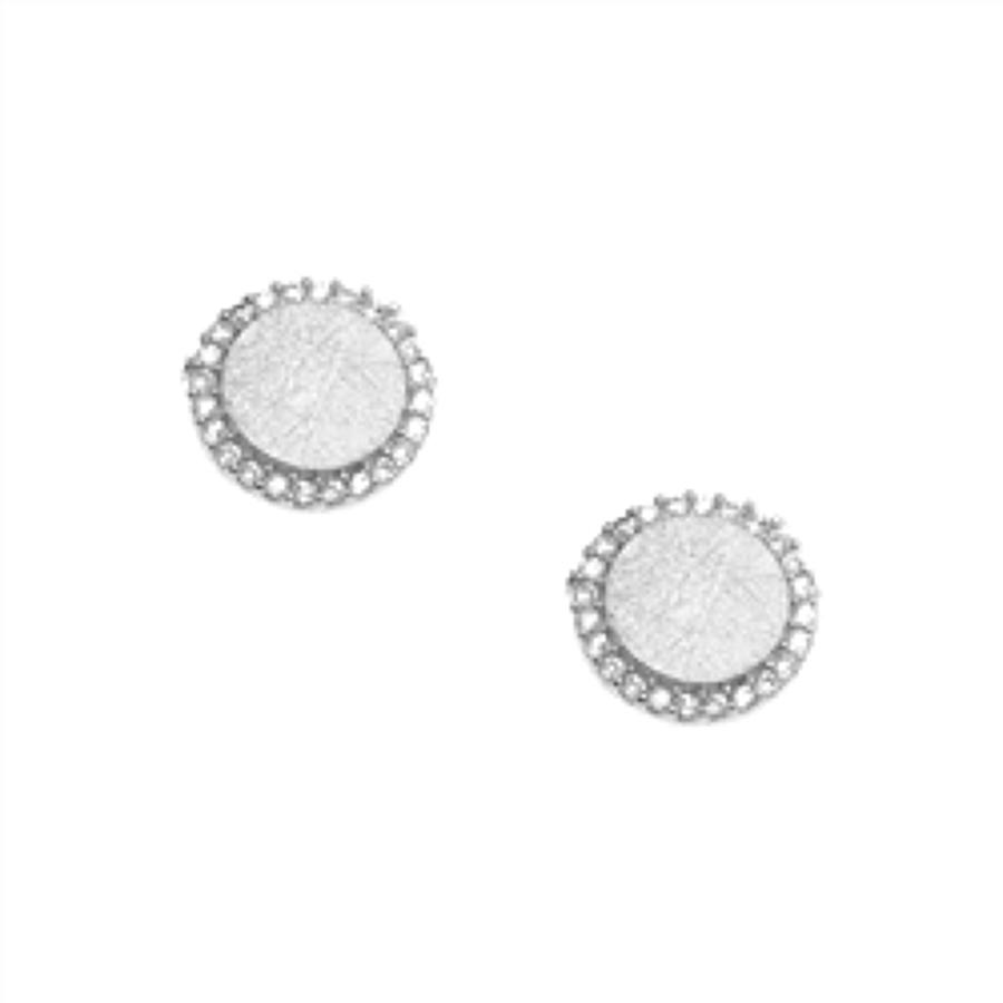 White Leaf - Crystal disc earrings in sterling silver plate