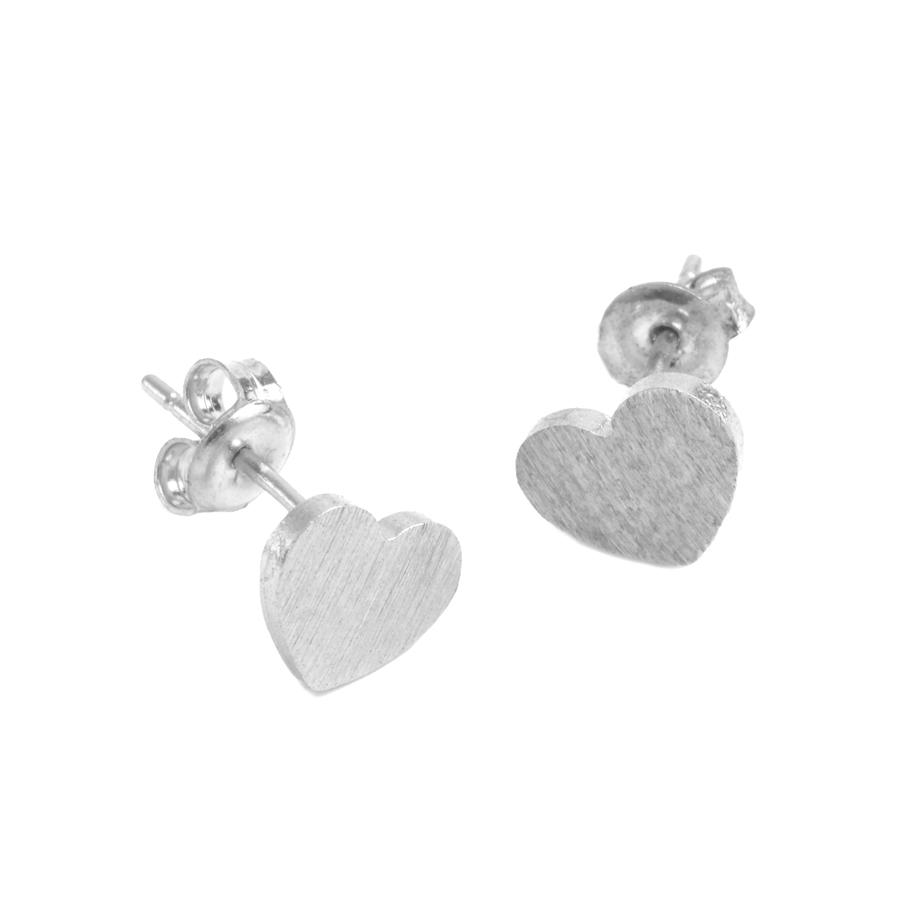 White Leaf - Small heart earings in sterling silver plate