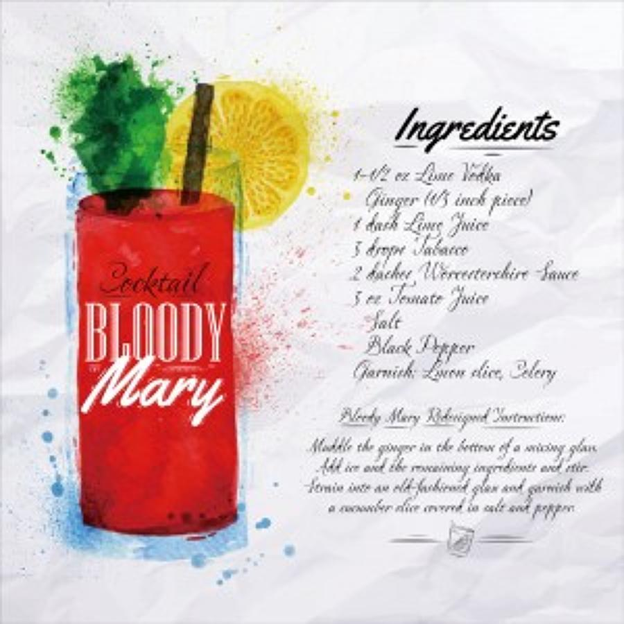 Glass wall art - Bloody mary cocktail recipe