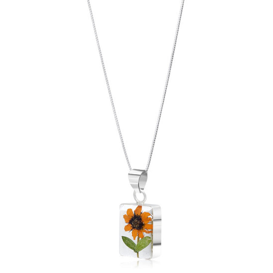 Sterling silver pendant - Real sunflower - Rectangle