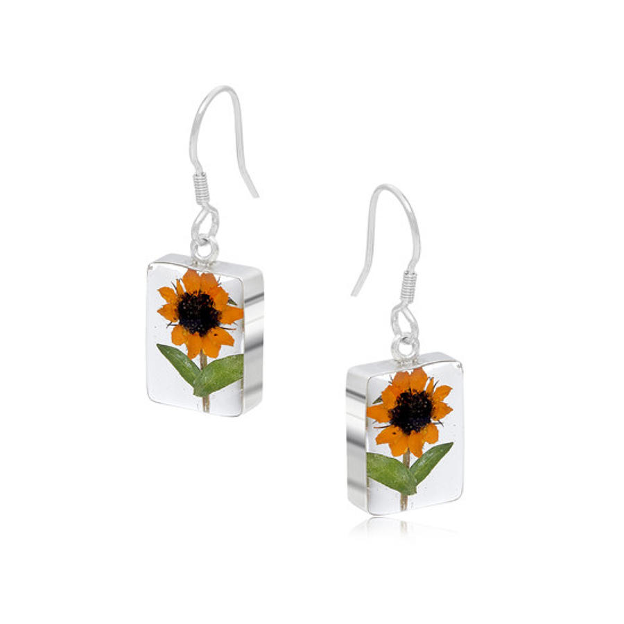 Sterling silver earrings - Real sunflower - Rectangle