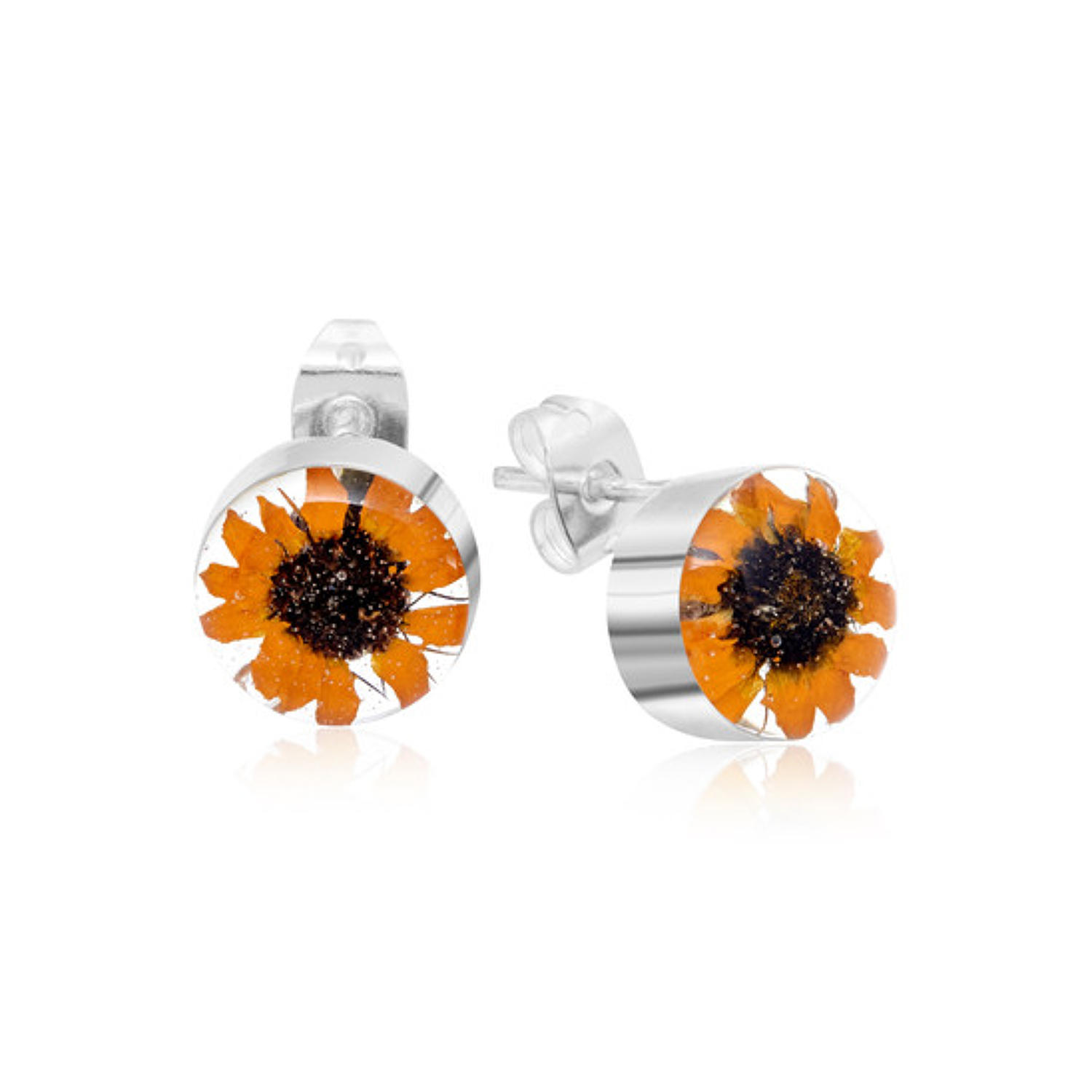 Sterling silver earrings - Real sunflower - Stud