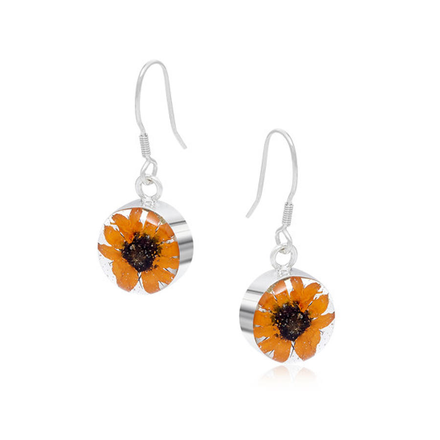 Sterling silver earrings - Real sunflower - Drop