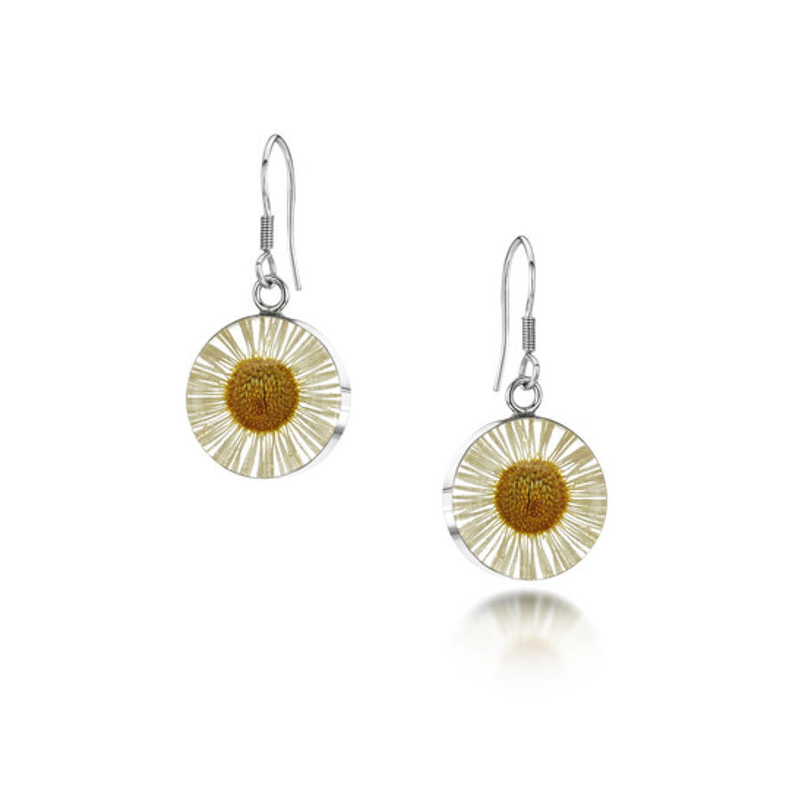 Sterling silver earrings - Real daisy white - Drop