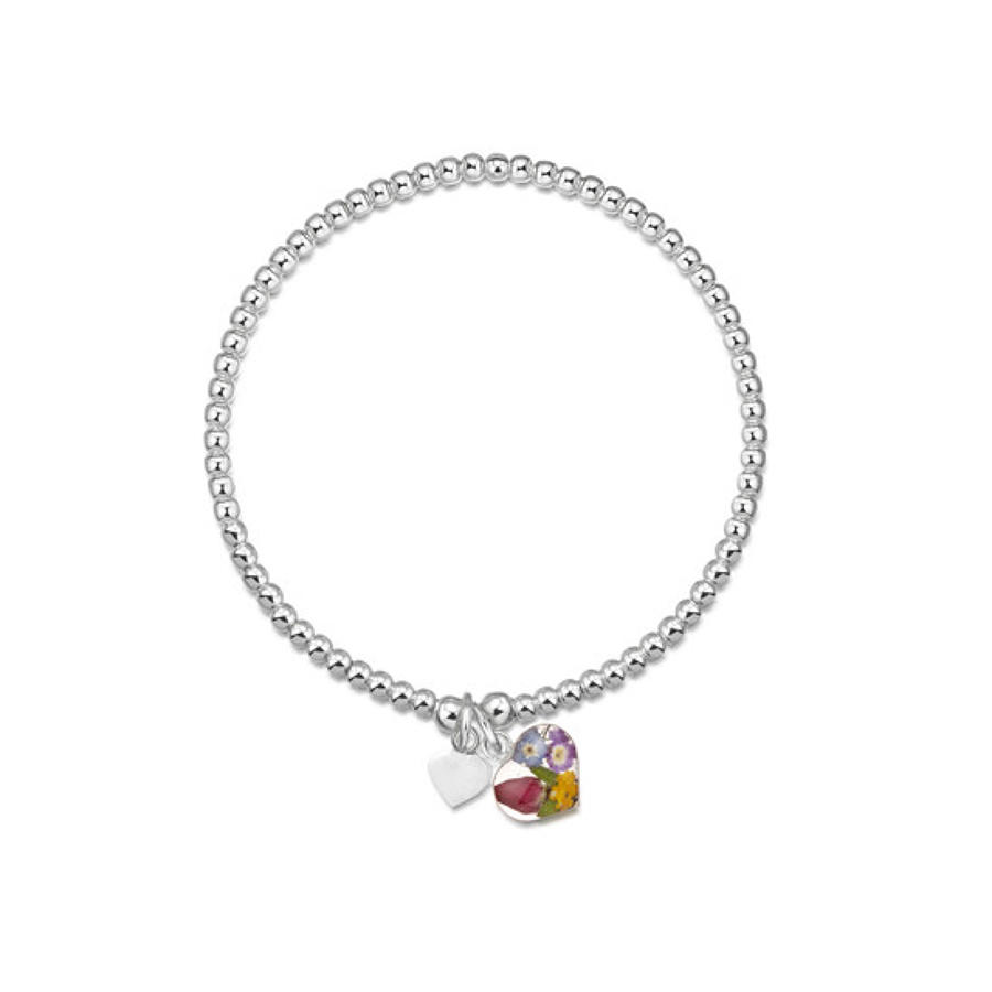 Sterling silver bead bracelet with real flowers - single strand - mixe