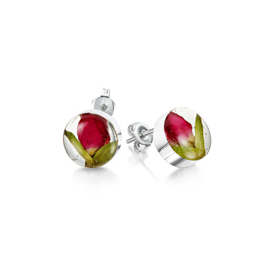 Sterling silver stud earrings - Real rose bud flower - Small round