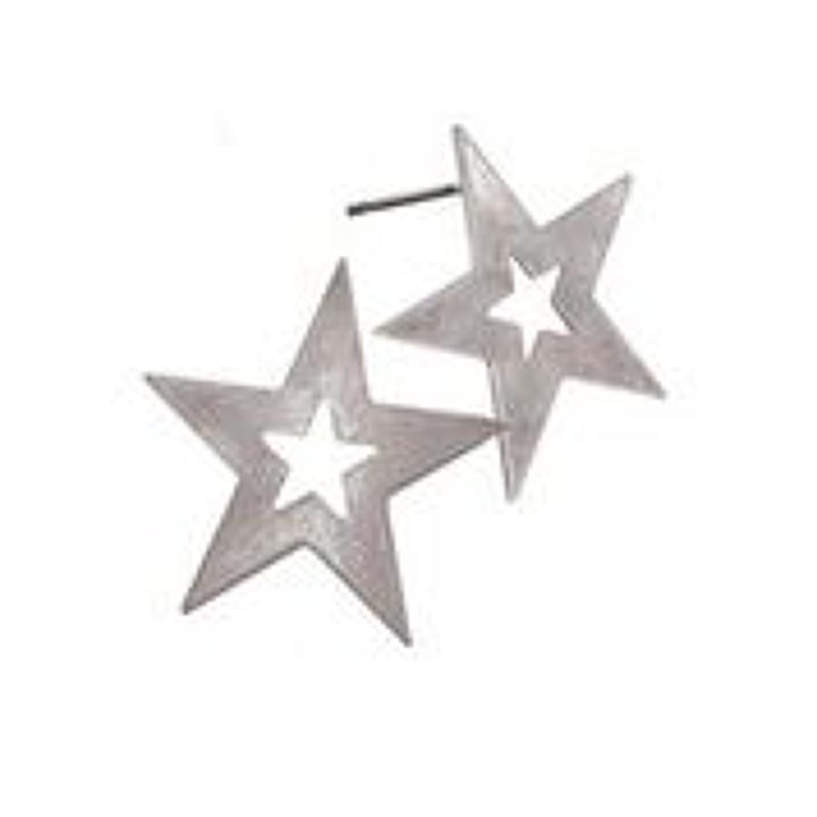 Hot tomato - Star struck earrings - Worn silver