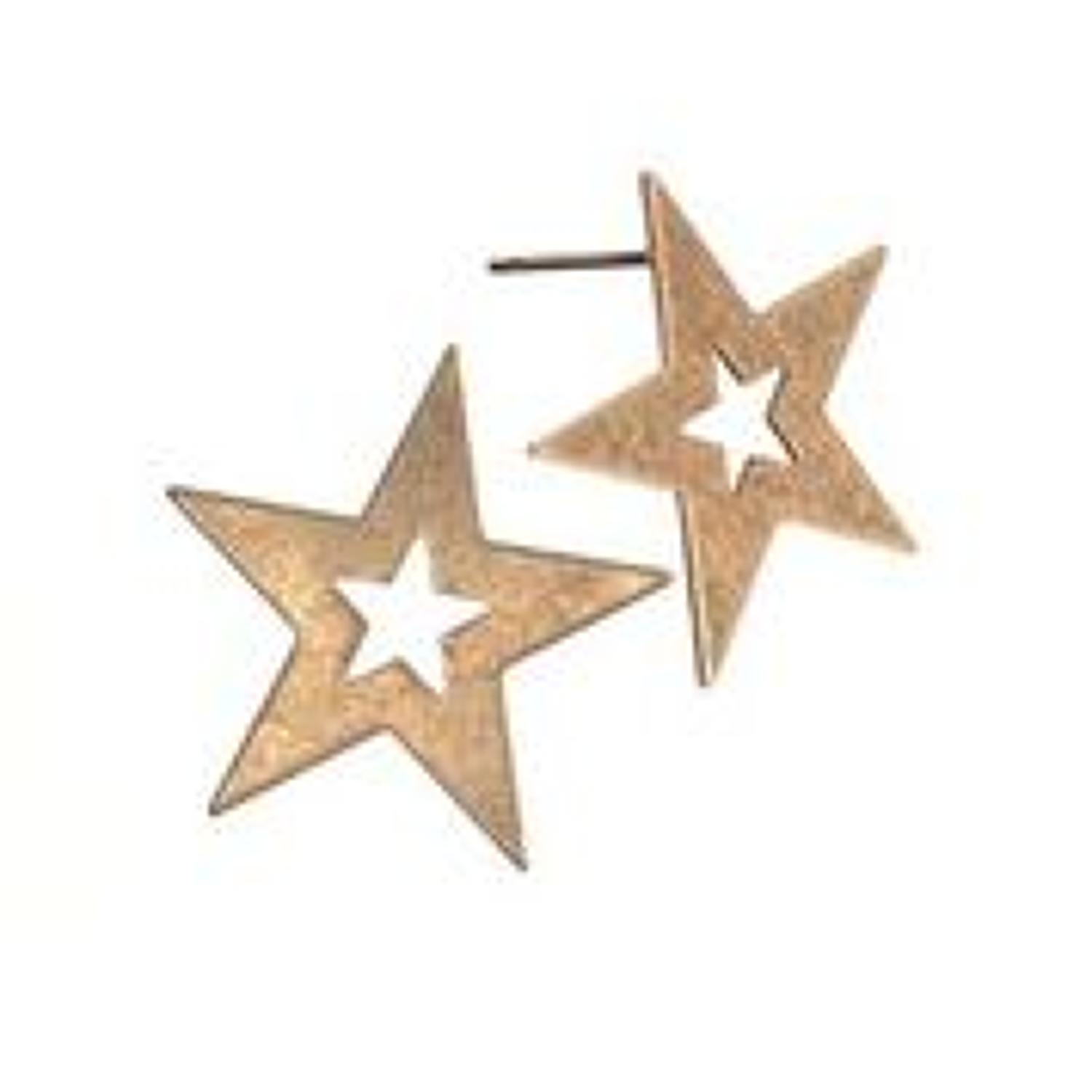 Hot tomato - Star struck earings- Worn gold