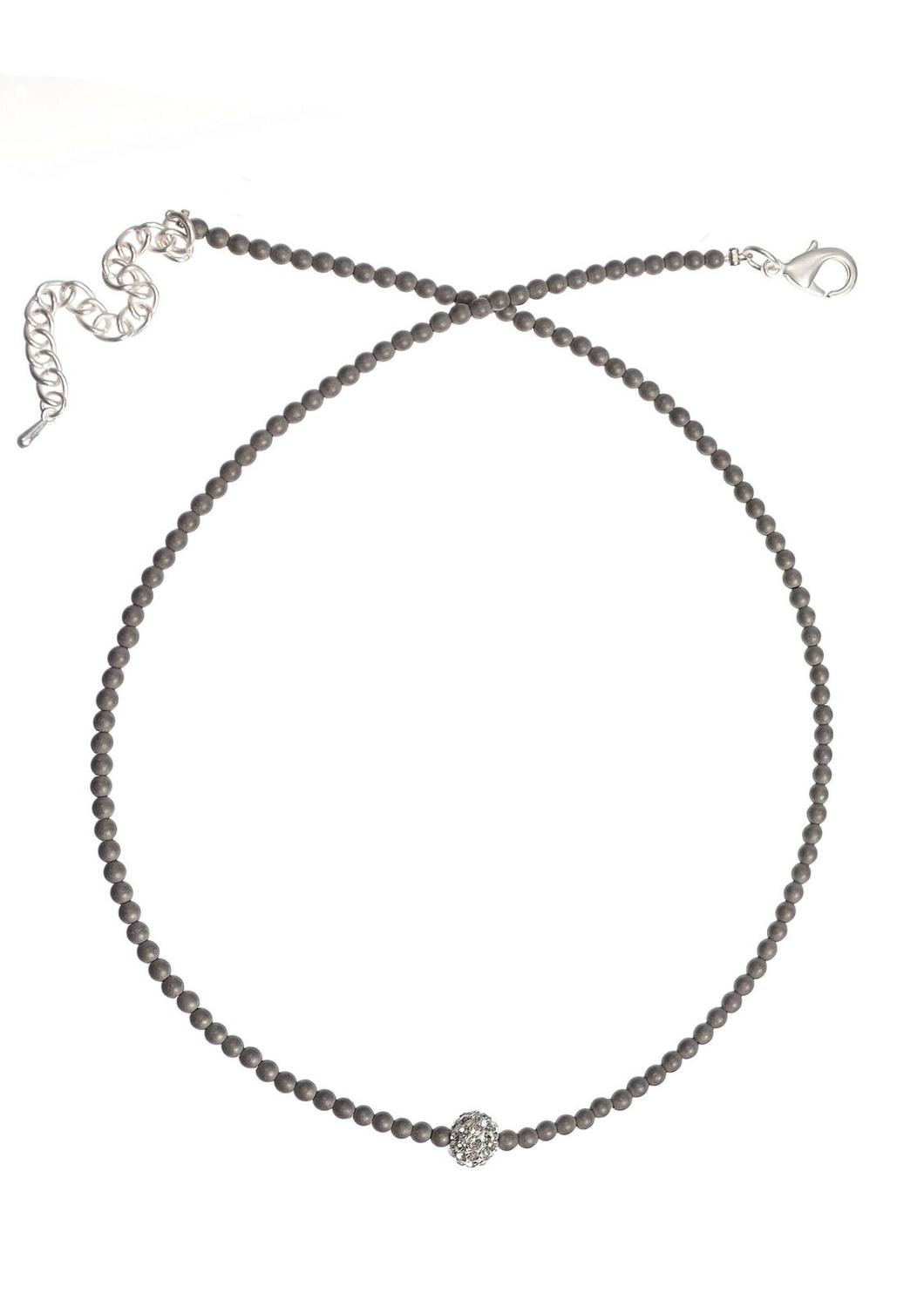 Hot tomato - Mini mineral bead w/crystal rondelle necklace - Pewter