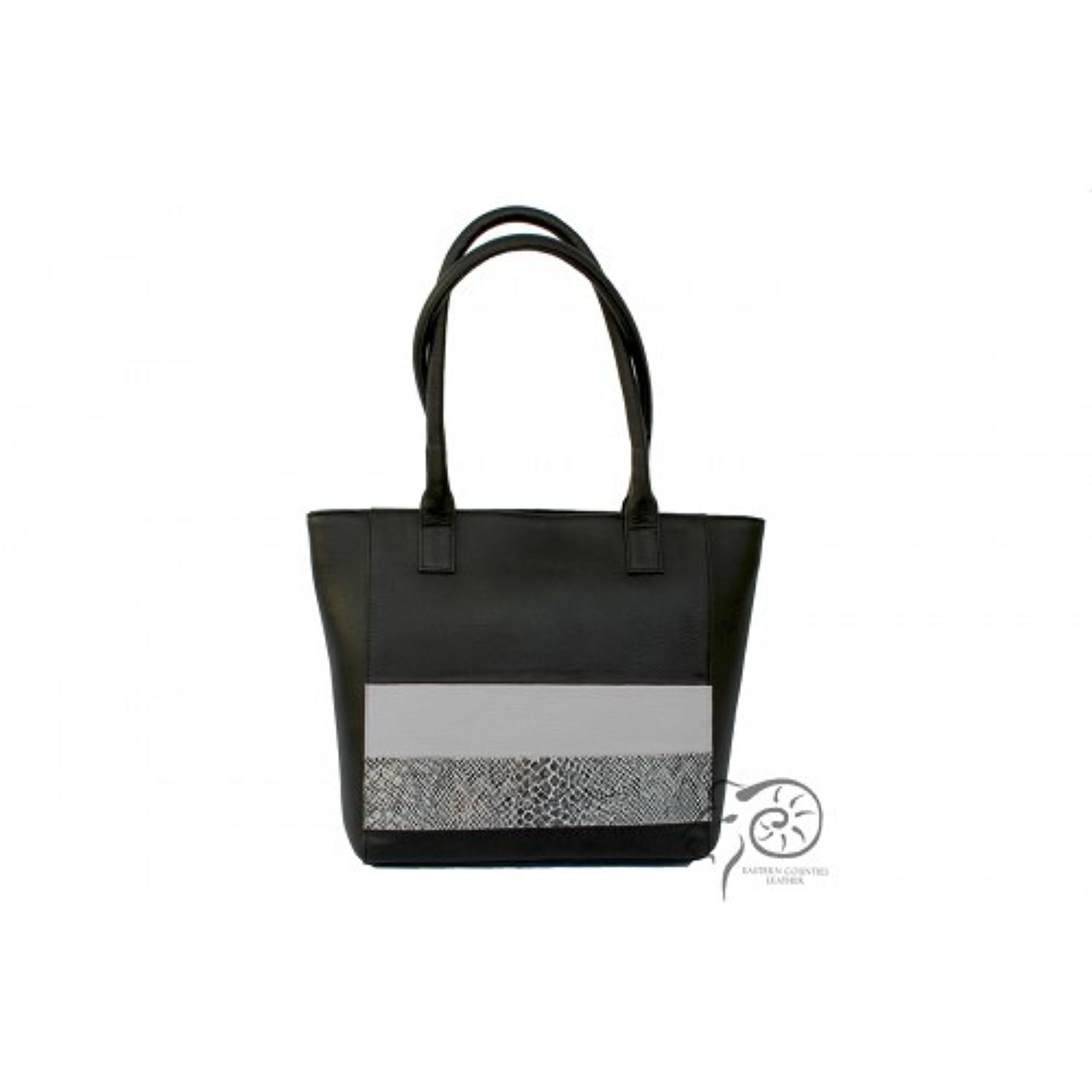 ECL - Leather handbag - Wendy - Black/stone - Twin tote shoulder