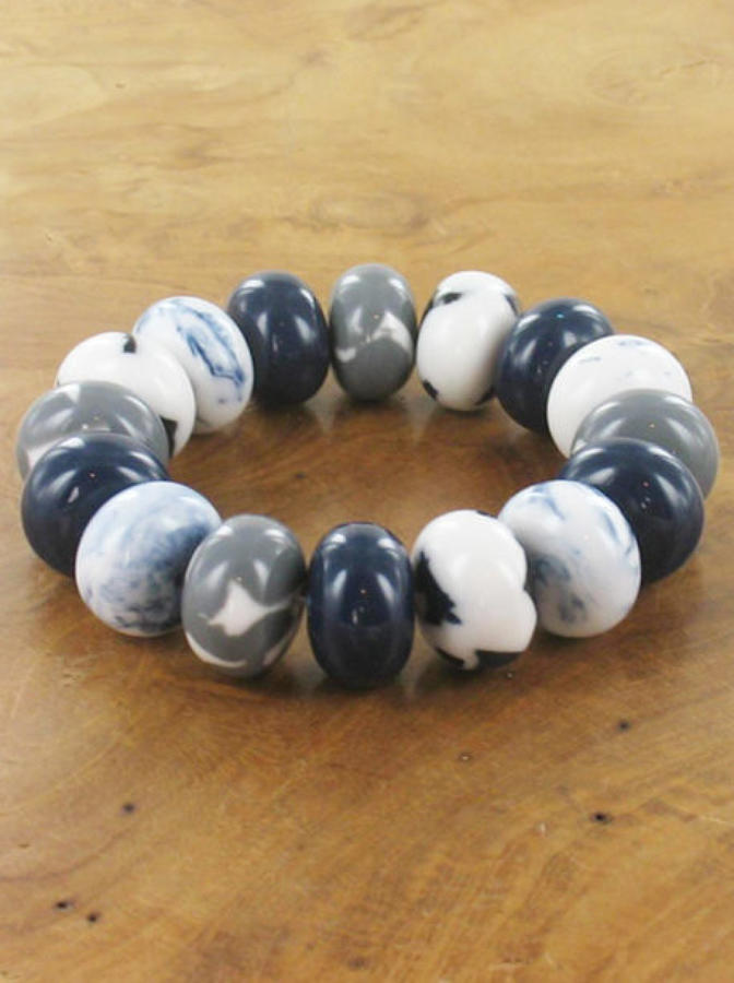 Suzie Blue - Elasticated donut bead bracelet - Denim blue