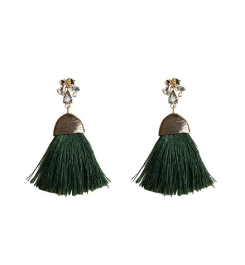 Belle & Flo - Crystal tassel earrings - Olive