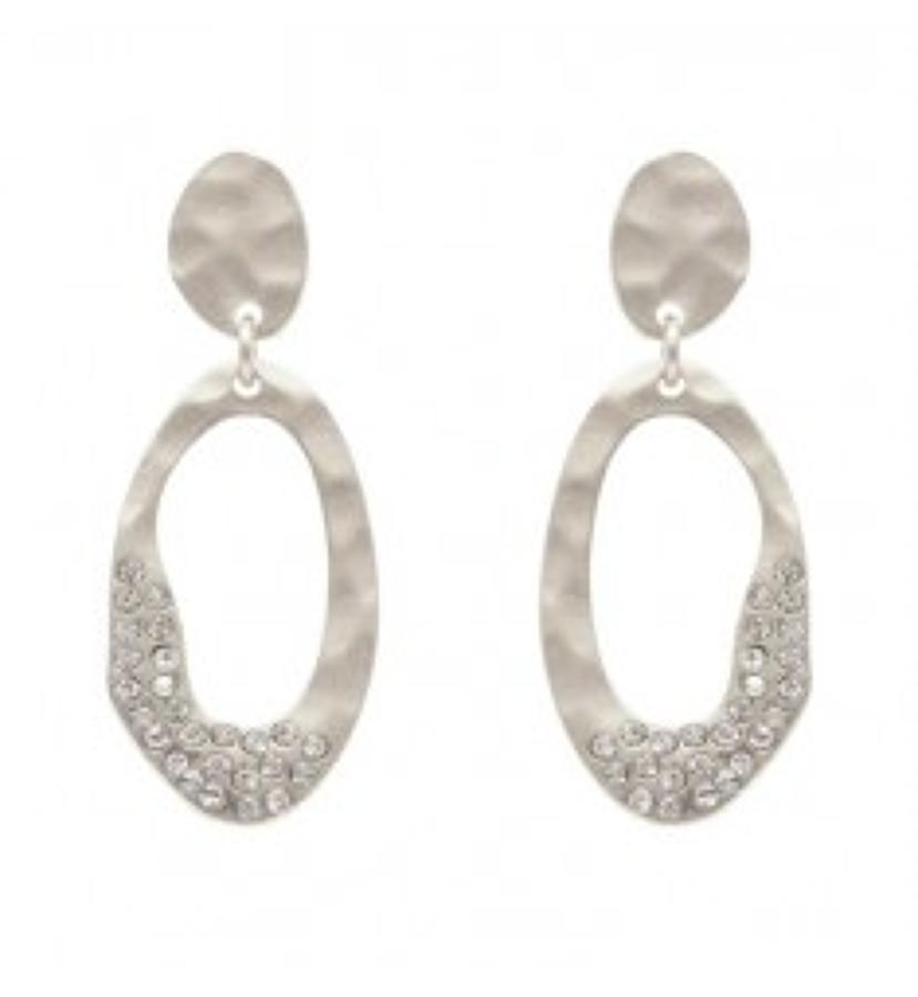 Belle & Flo - Matt oval loop crystal earrings