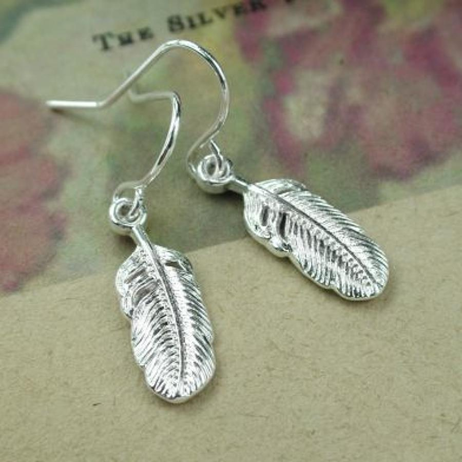 POM  - Silver plated feather drop earrings