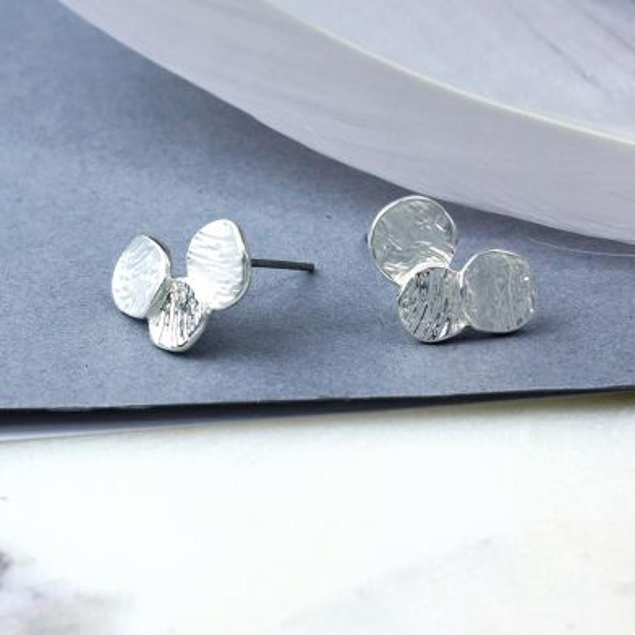 POM -Triple silver plated circle stud earrings