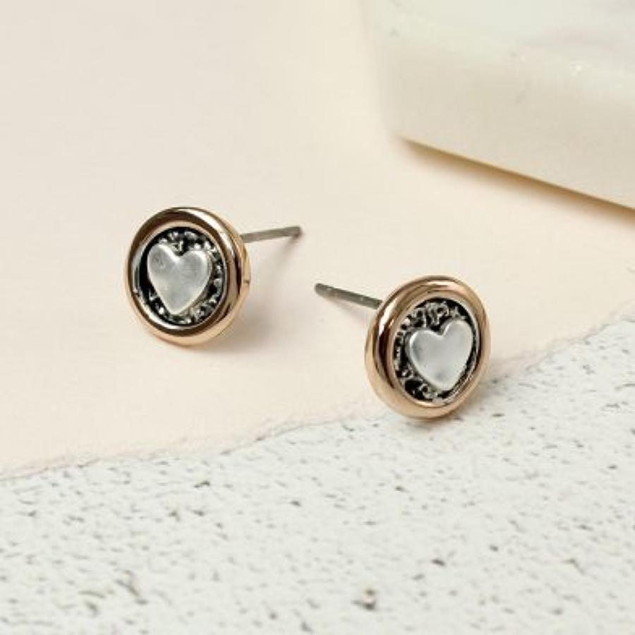 POM - Silver platedheart in rose gold circle earrings
