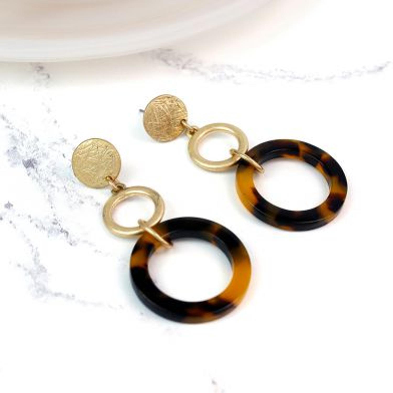 Pom - Worn gold/tortoise shell hoops earrings