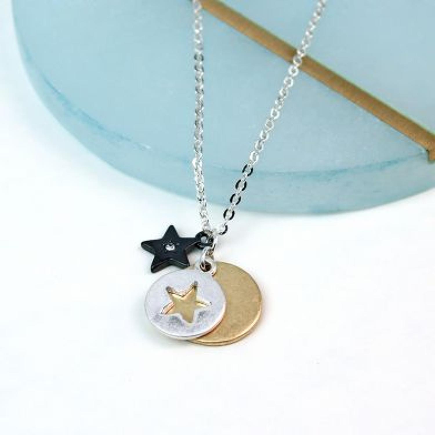 POM - Worn tri colour star, star disc & plain disc necklace