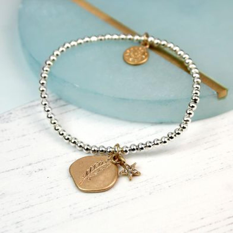 POM - Worn gold organic leaf imprint bracelet