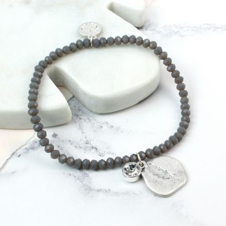 POM -Worn silver organic leaf imprinted crystal bracelet