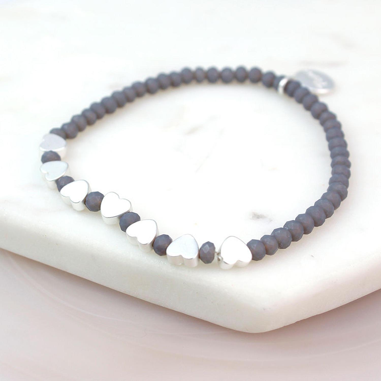 POM  - Grey crystal bead/matt silver bracelet