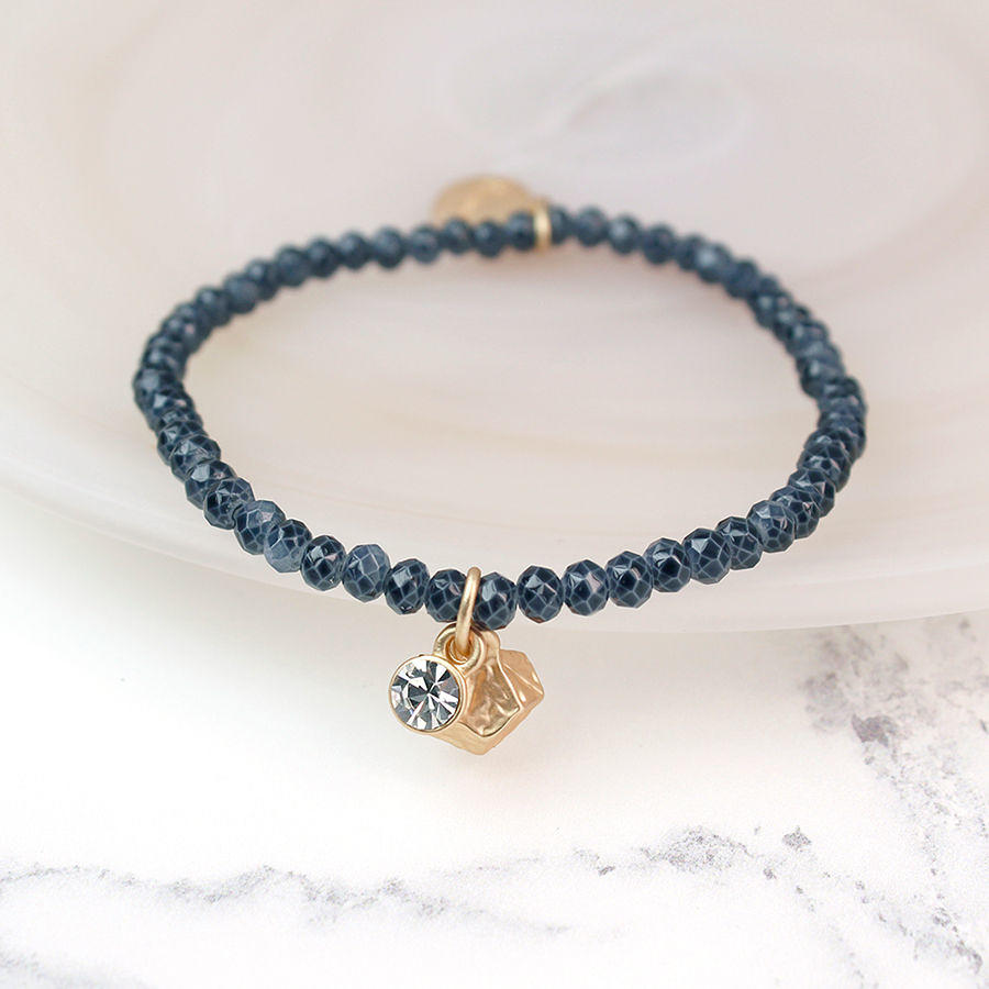 POM - Grey crystal & matt gold bracelet