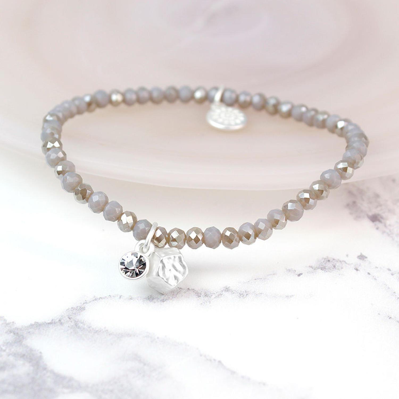 POM - Grey crystal & matt silver bracelet