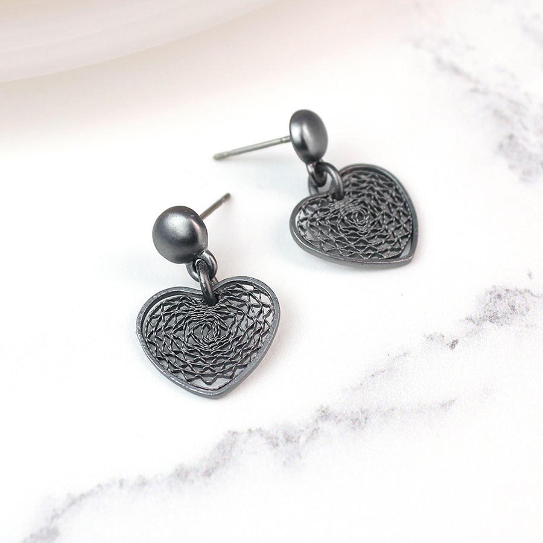 POM - Matt gunmetal filigree earrings