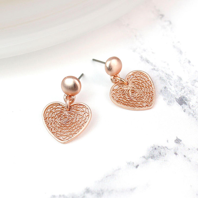 POM - Matt rose gold filigree earrings