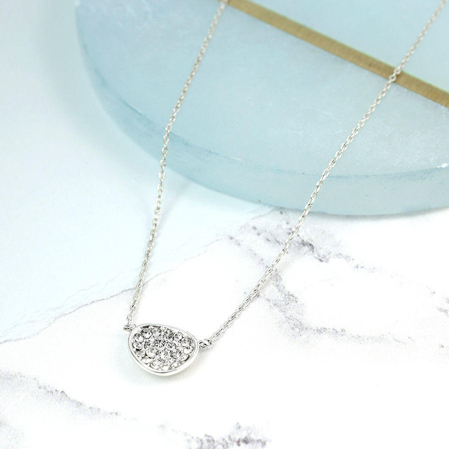 POM - Crystal irregular oval necklace