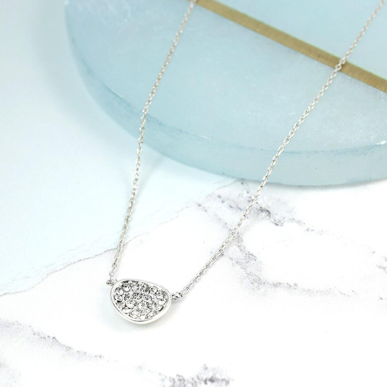 POM - Crystal irregular oval necklace