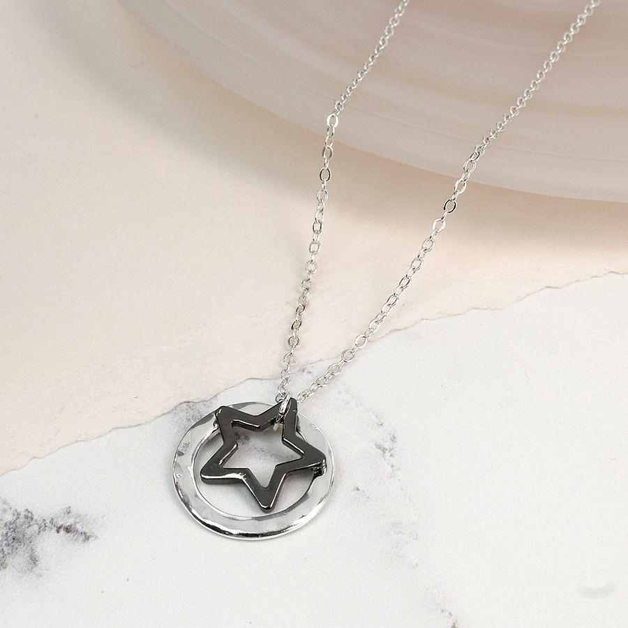 POM - Hematite plated star in silver plated circle necklace