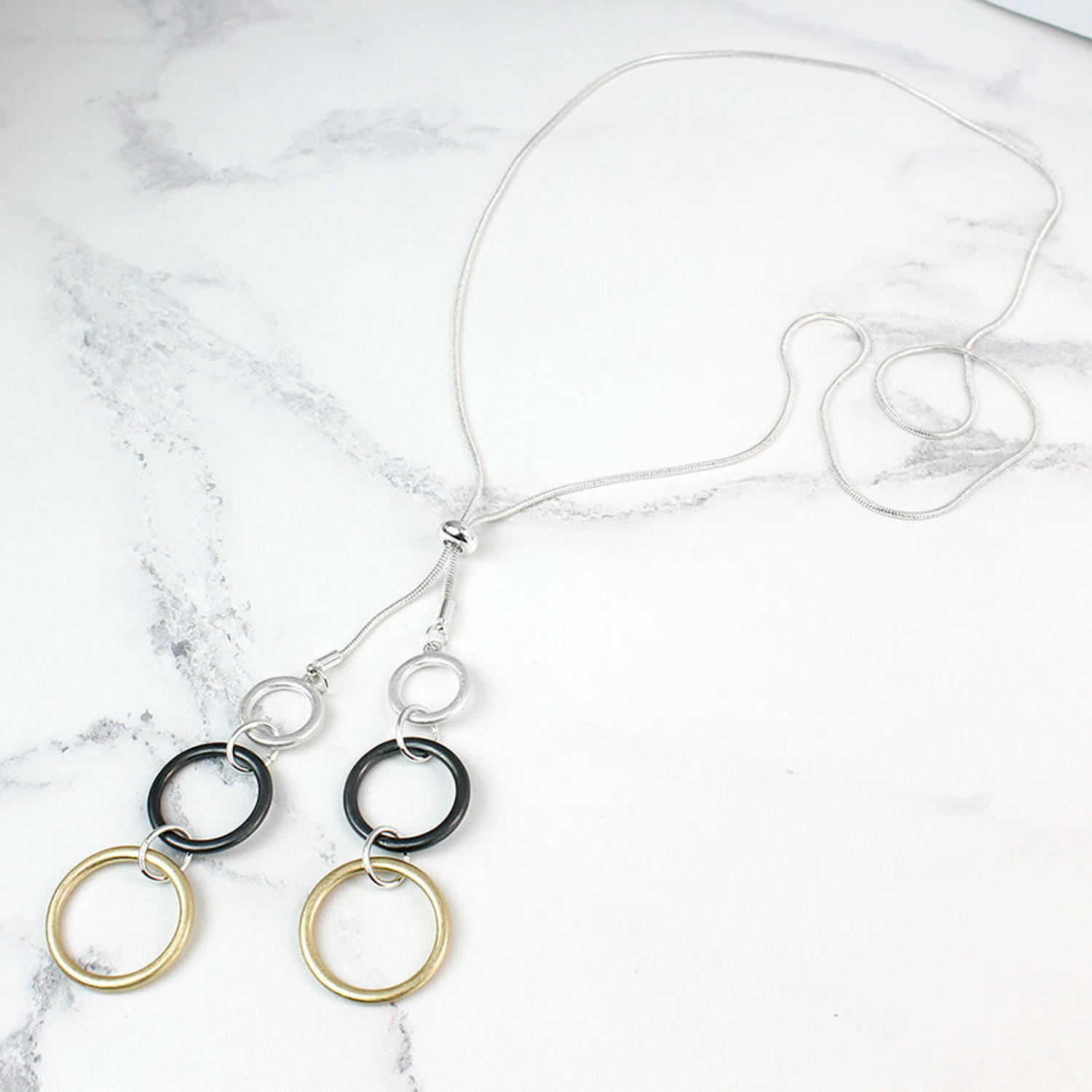 POM - Long adjustable mixed finished ring necklace