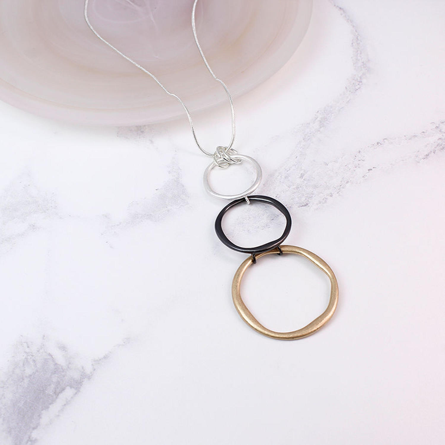 POM - Long triple hoop mixed metal necklace