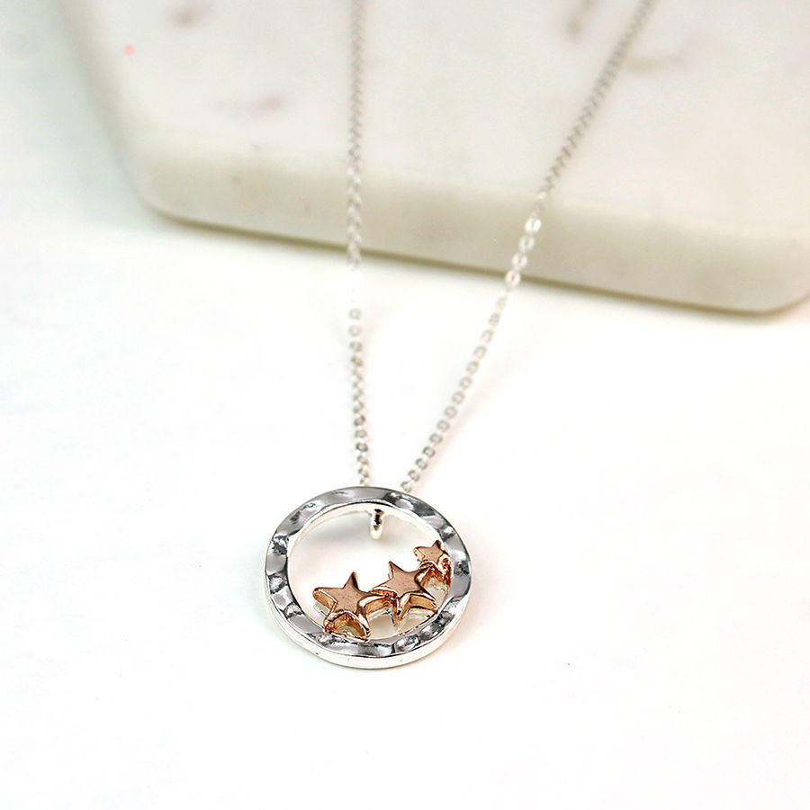 POM - Trio of rose gold stars in silver plated ring necklace