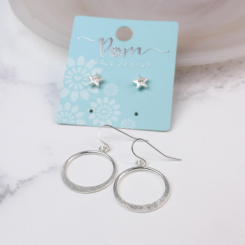 POM - Worn silver star studs/brushed hoop earrings