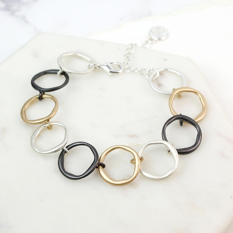 POM - Mixed metal hoop bracelet
