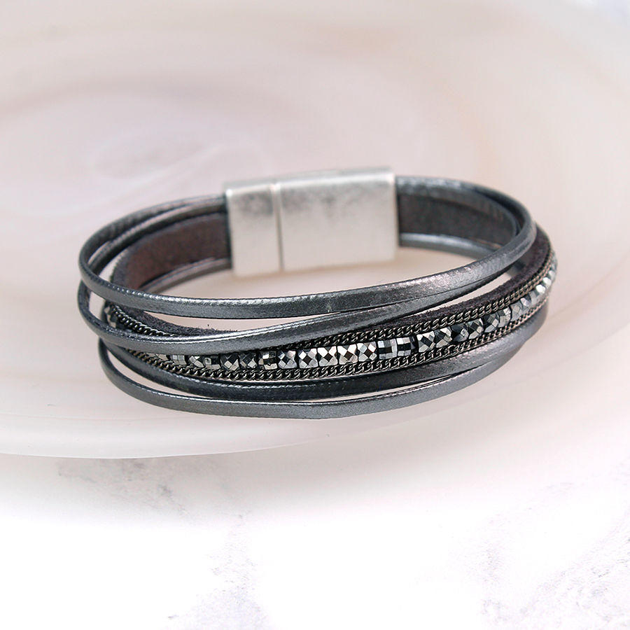 POM - Dark grey 5 strand fine leather bracelet