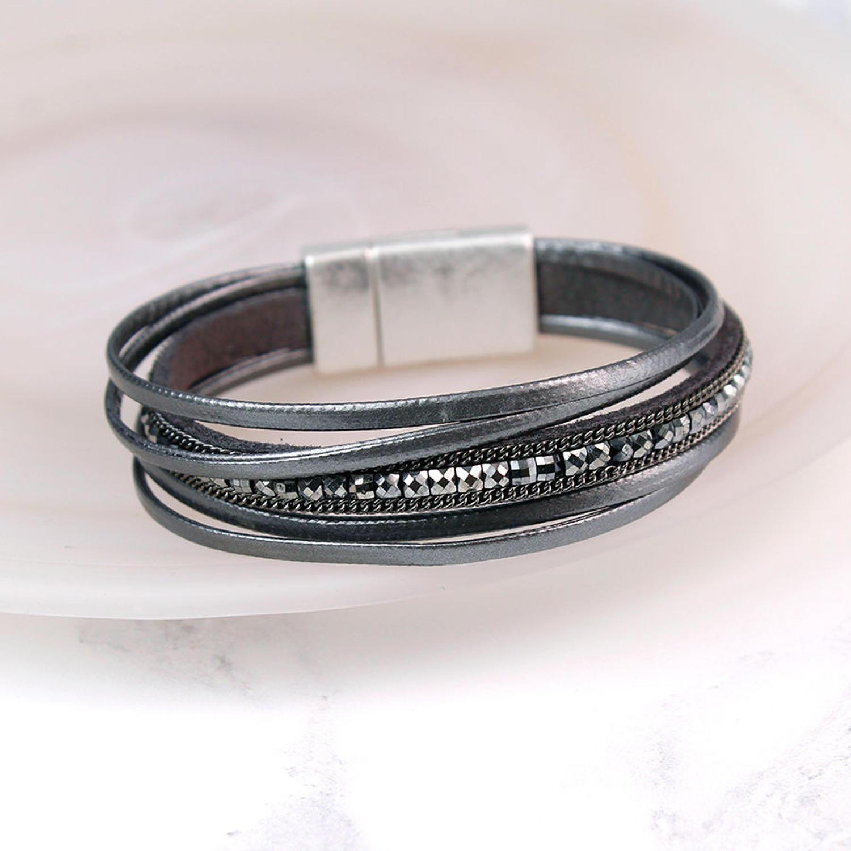 POM - Dark grey 5 strand fine leather bracelet