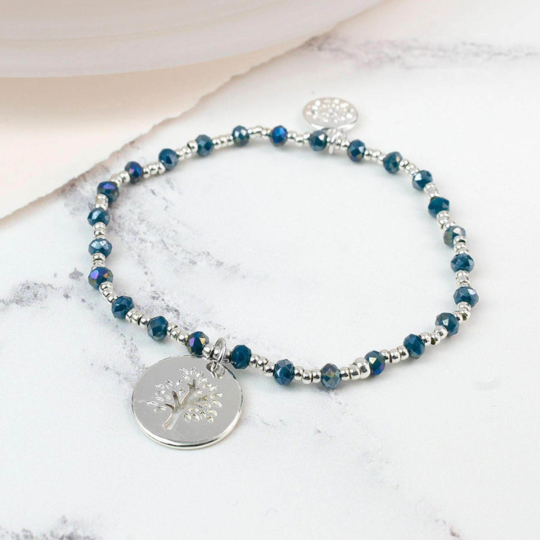 POM - Blue crystal/silver plated bead bracelet