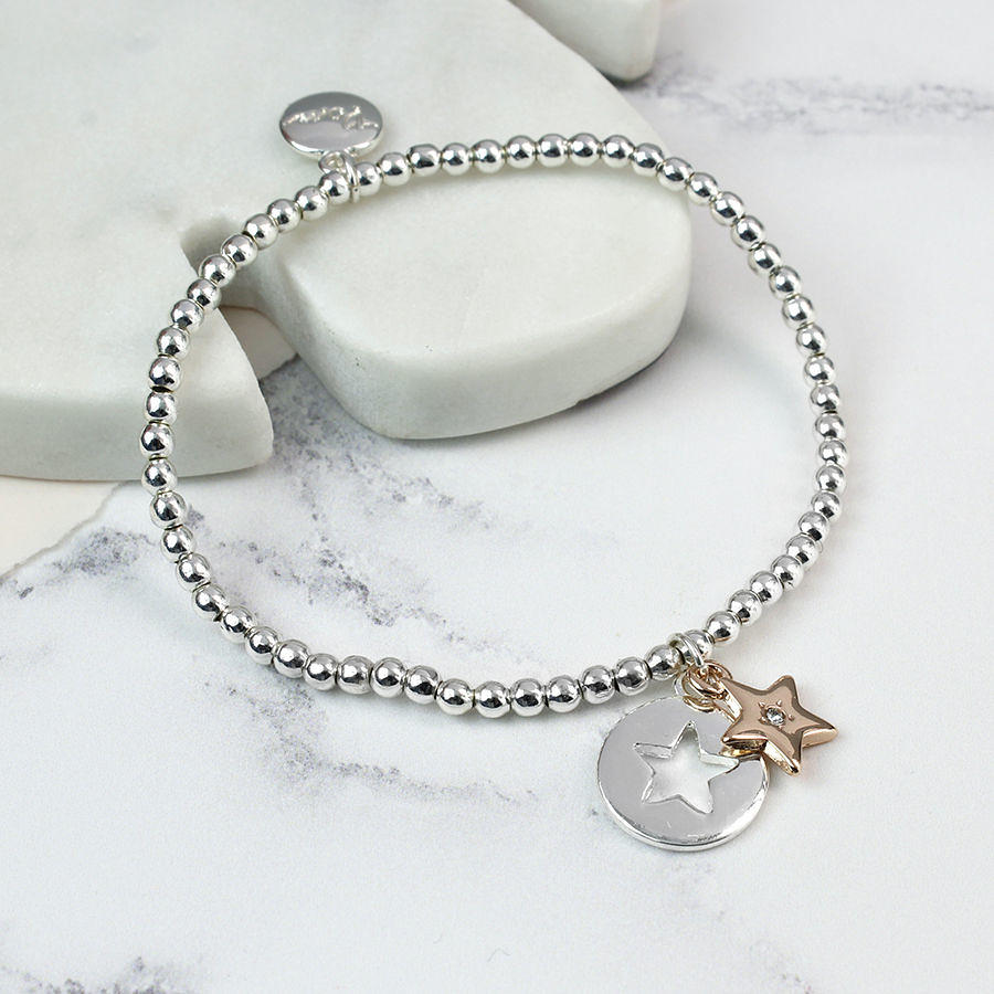 POM - Rose gold star with crystal silver plated circle star