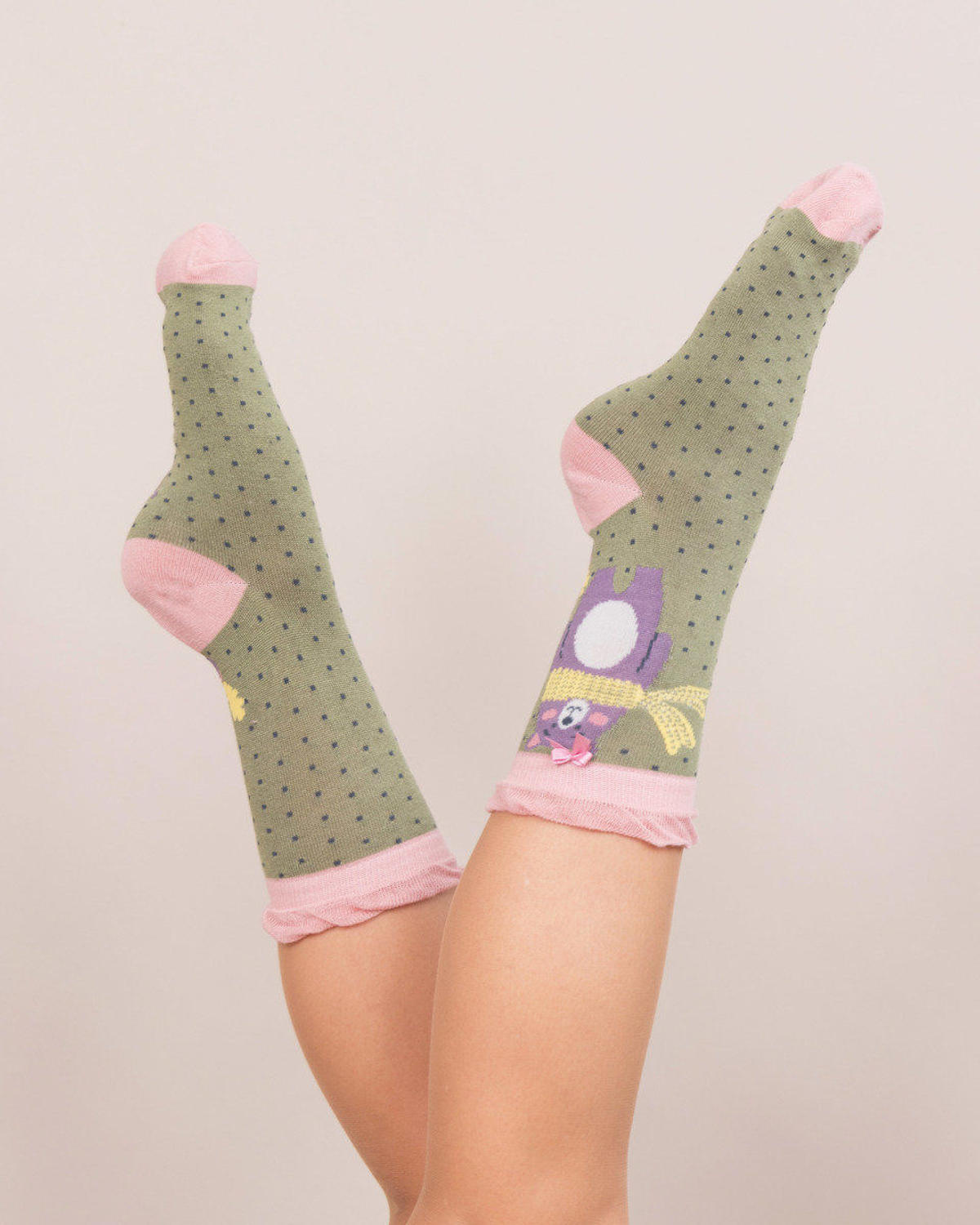 Powder - Nerd bear ankle socks - One size - Moss