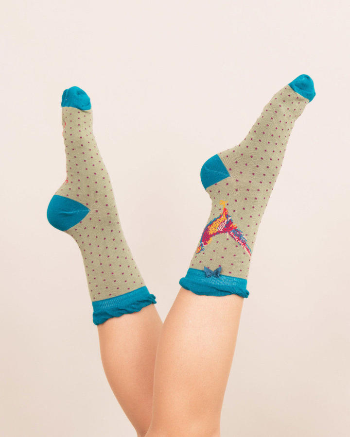 Powder - Pheasant -  ankle socks - One size - Moss