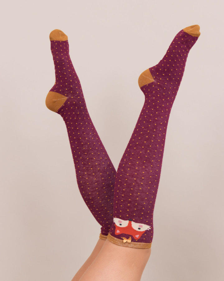 Powder - Knee high Fox socks - One size - Damson