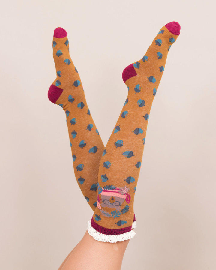 Powder - Knee high Nerd bear socks - One size - Mustaed