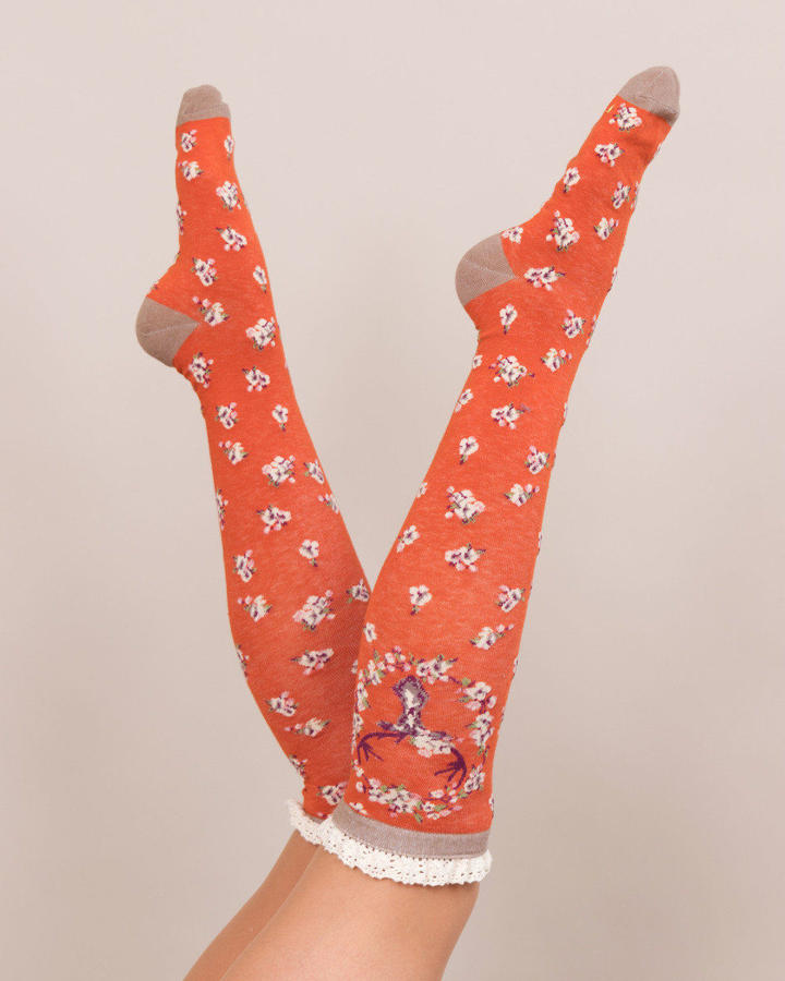 Powder - Knee high Stag socks - One size - Tangerine