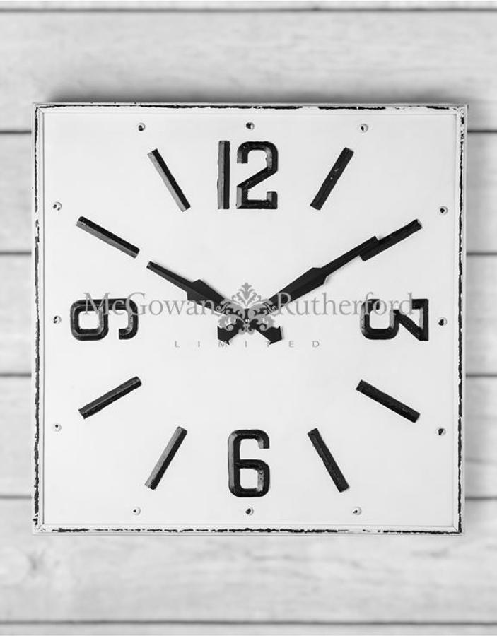 Large square white & black antiqued wall clock