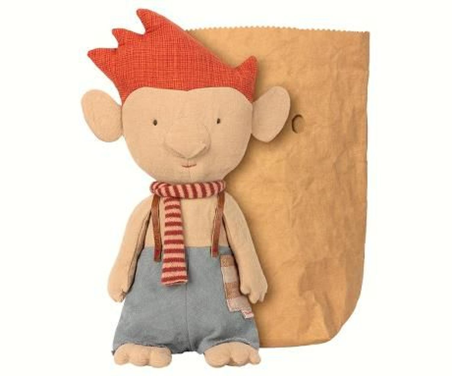 Maileg - Troll with red scarf & leather suspenders to keep up pants
