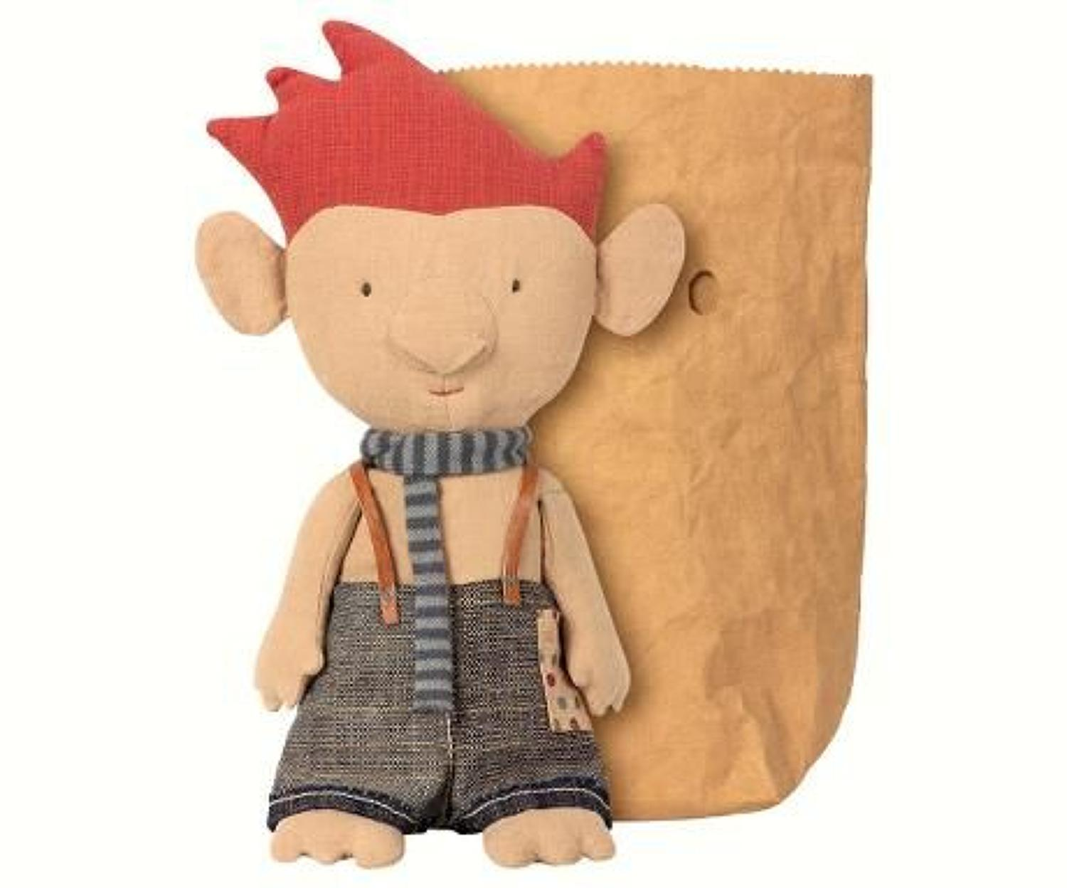 Maileg - Troll with blue scarf & leather suspenders to keep up pants